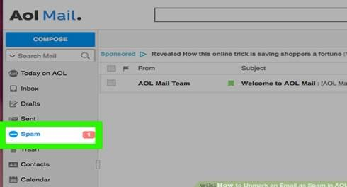 Unmarking Email as Spam in AOL