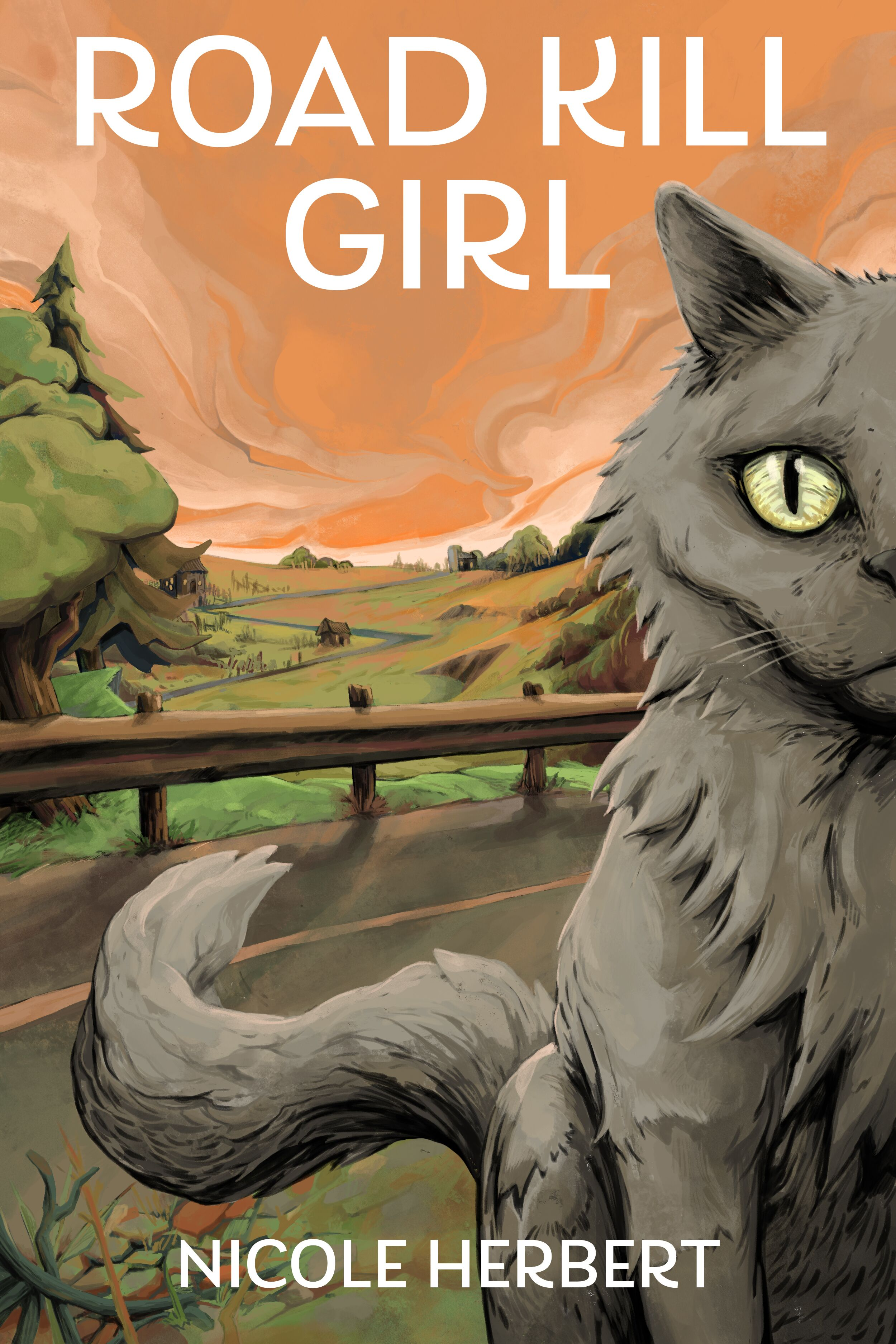 Road Kill Girl by Nicole Herbert, cover shows a gray cat on the side of a road with an orange sky and a farm in the distance
