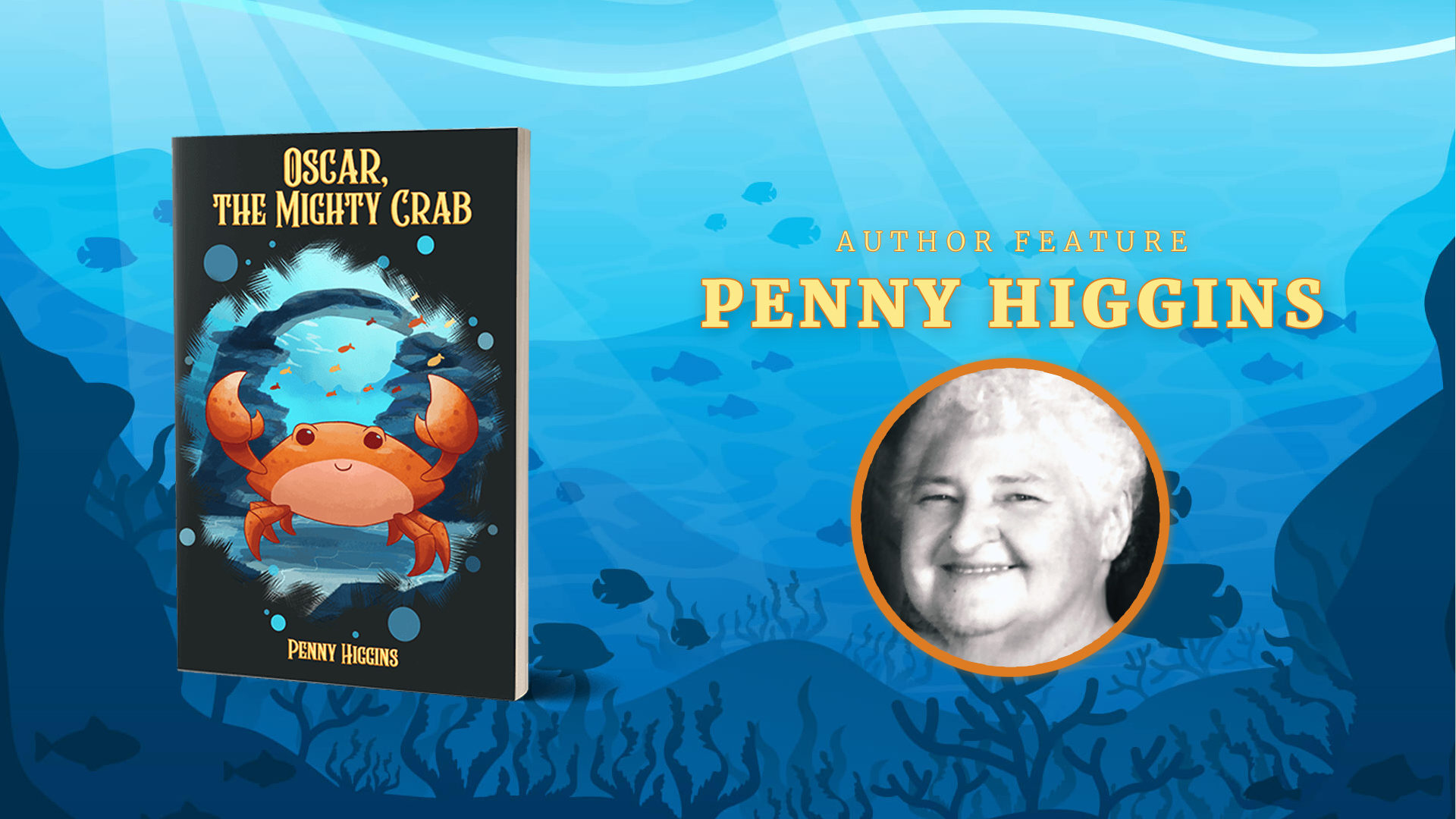 Penny Higgins icture and book cover of Oscar the Mighty Carb